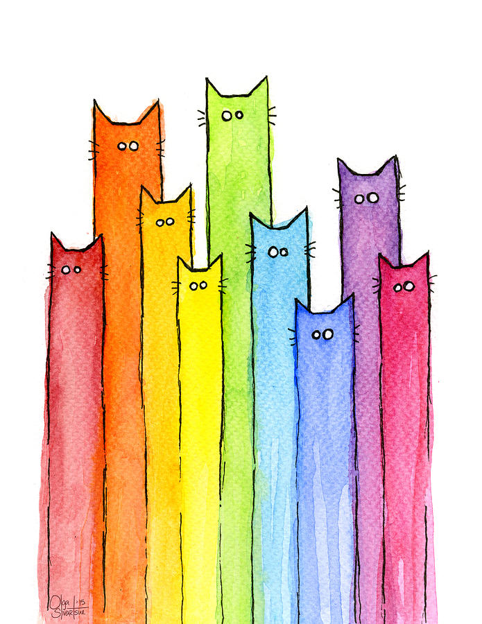 Watercolor Painting - Rainbow of Cats by Olga Shvartsur