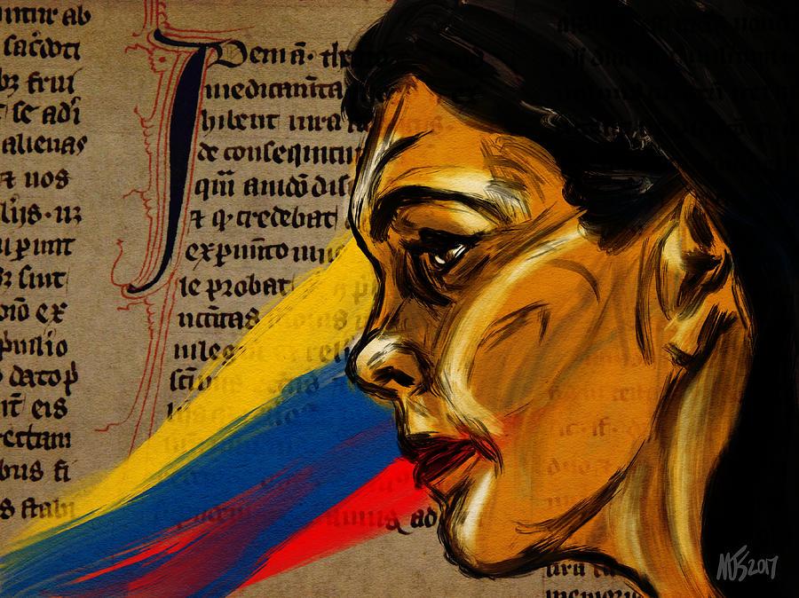 Portrait Digital Art - Rainbow Of Words by Michael Kallstrom