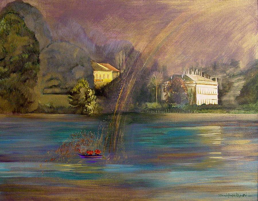 Landscape Painting - Rainbow On Lake Como by Maria Grazia  Repetto