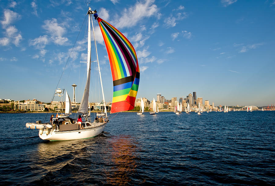 Seattle Photograph - Rainbow On The Wind by Tom Dowd