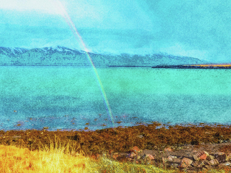 Iceland Digital Art - Rainbow On Videy by Frans Blok