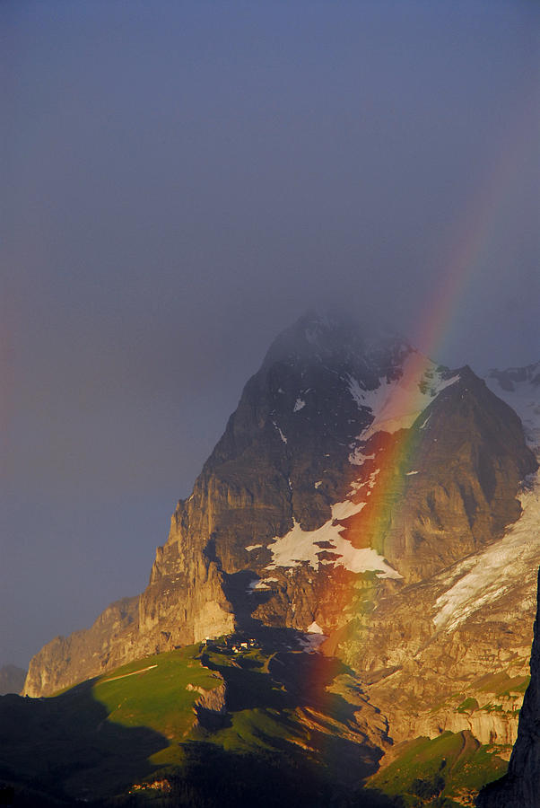 Alps Photograph - Rainbow Over Eiger Mountain by Anne Keiser