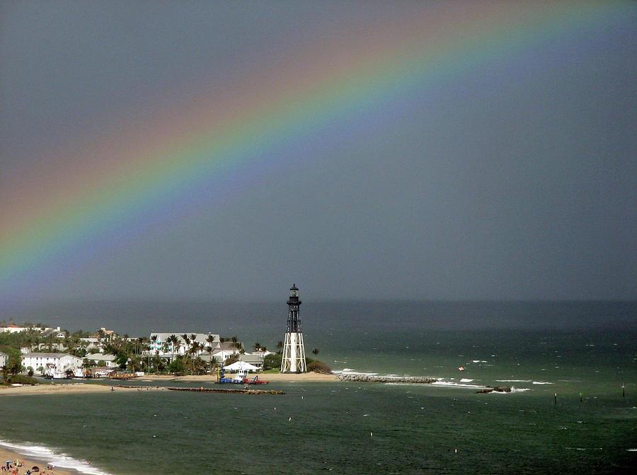 Rainbow Photograph - Rainbow over Hillsboro Lighthouse by Corinne Carroll