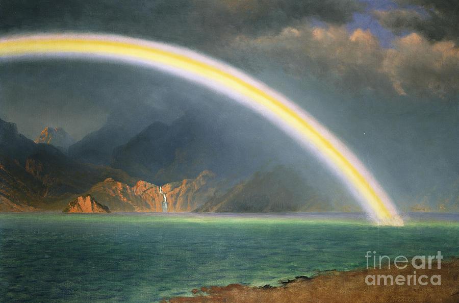 Rainbow Over Jenny Lake Wyoming Painting by Albert Bierstadt