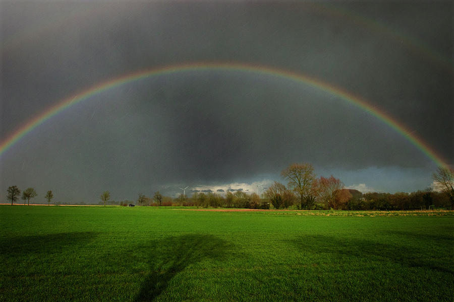 Rainbow Over The Field Photograph