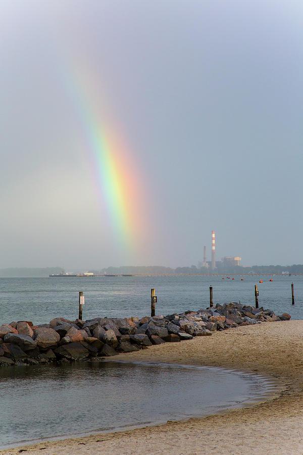 Rainbow Over Yorktown Beach Photograph