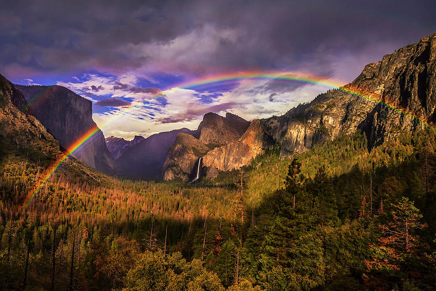 Rainbow Over Yosemite Photograph