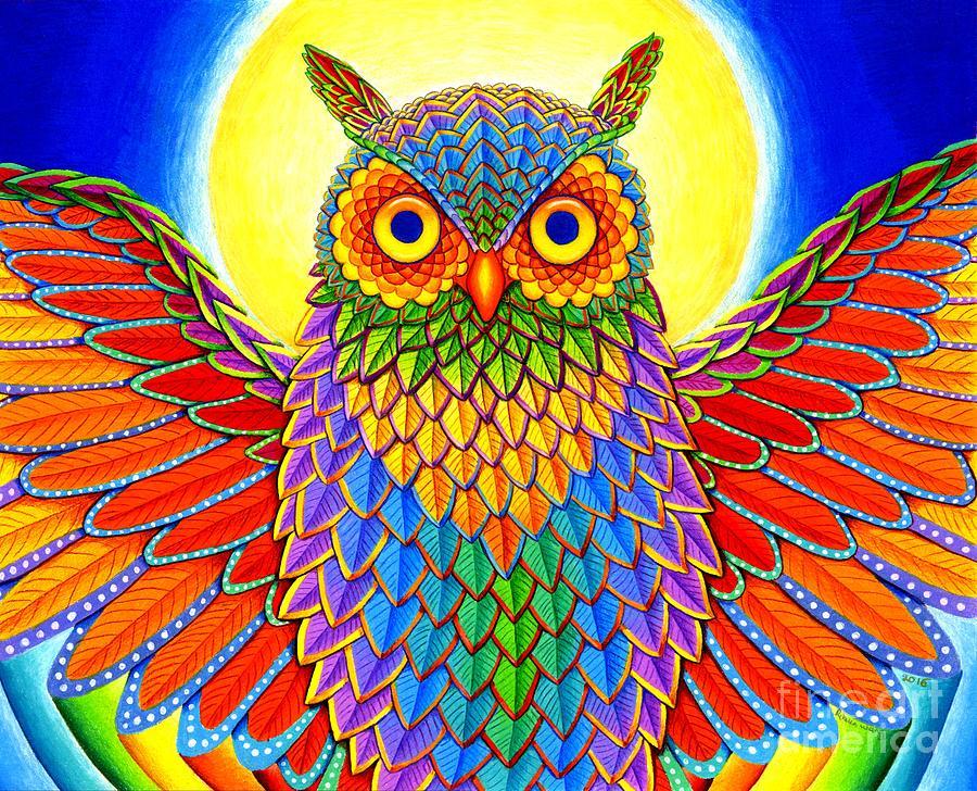 Rainbow Owl Drawing By Rebecca Wang