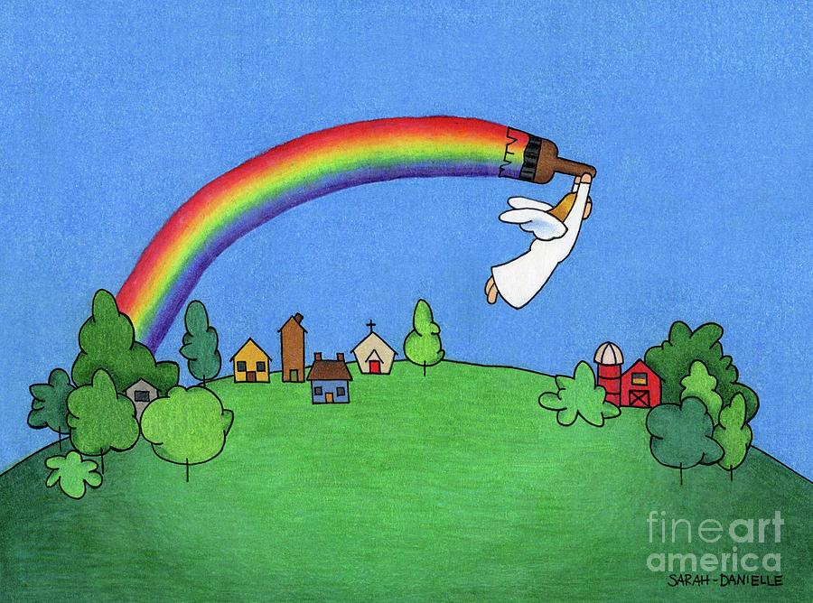 Angels Drawing - Rainbow Painter by Sarah Batalka