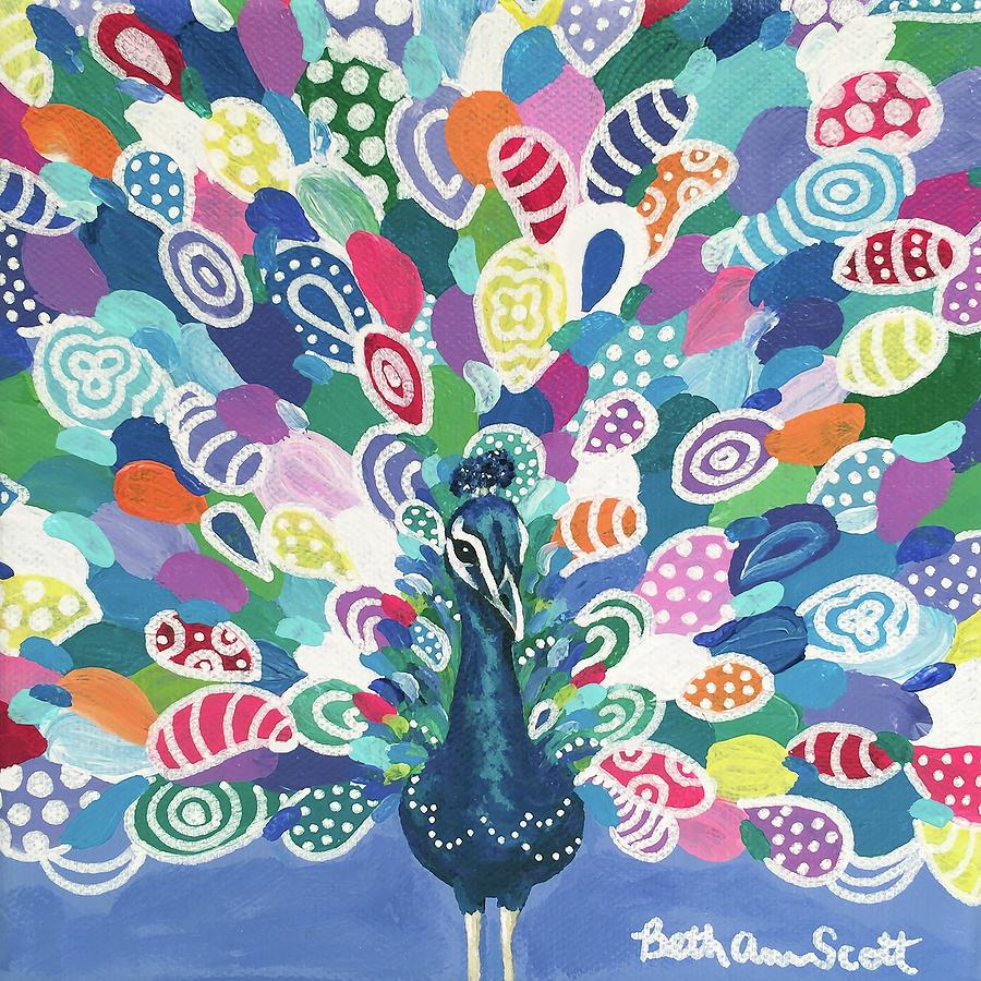 Bird Painting - Rainbow Peacock by Beth Ann Scott
