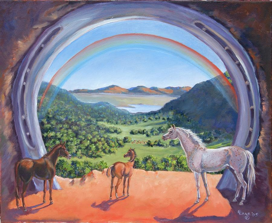 Horses And A Mule In Landscape  Painting - Rainbow Portal by Elizabeth Lane