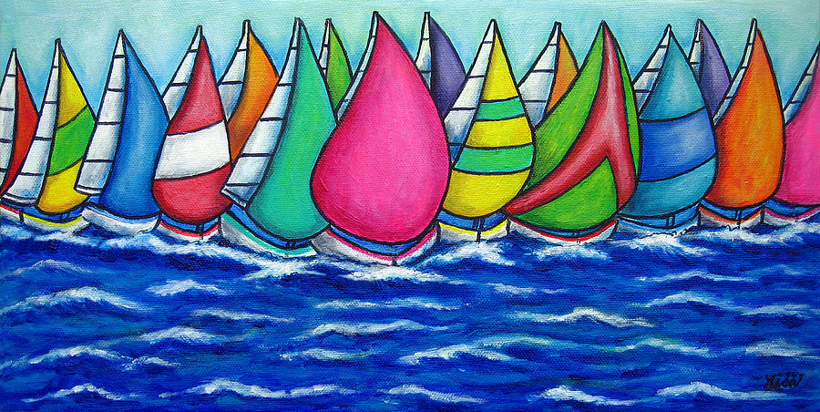 Boats Painting - Rainbow Regatta by Lisa  Lorenz