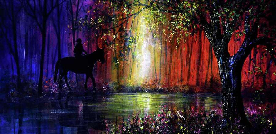 Hand Painted Painting - Rainbow Ride by Ann Marie Bone