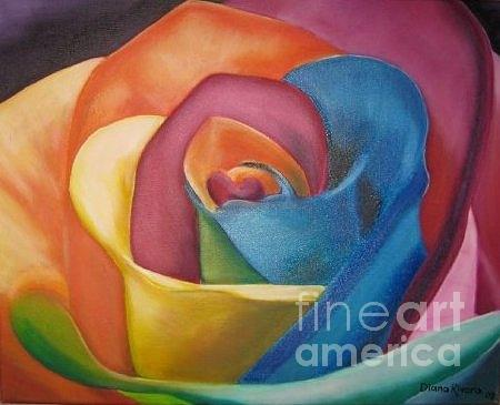 Colorful Painting - Rainbow Rose by Diana Rivera