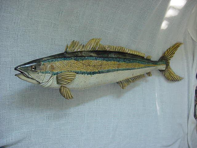 Fish Mixed Media - Rainbow Runner- Wooden Fish-sold by Lisa Ruggiero