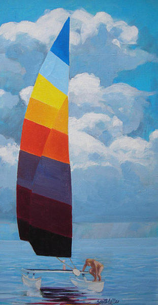 Rainbow Sail Painting by Neal Smith-Willow