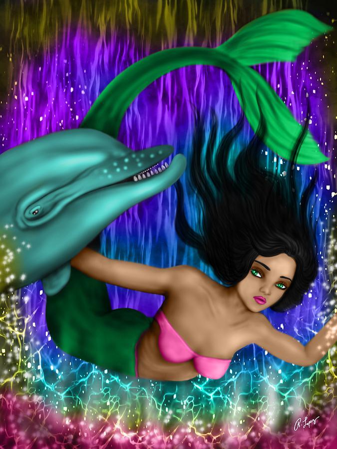 Mermaid Painting - Rainbow Sea Mermaid - Fantasy Art by Raphael Lopez