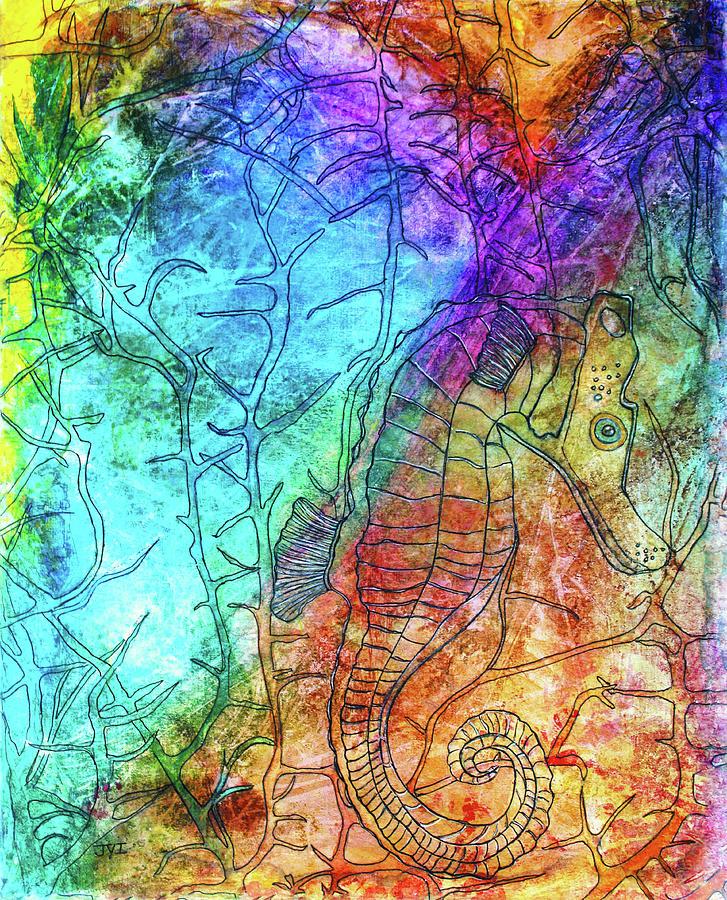 Seahorses Painting - Rainbow Seahorse by Janet Immordino