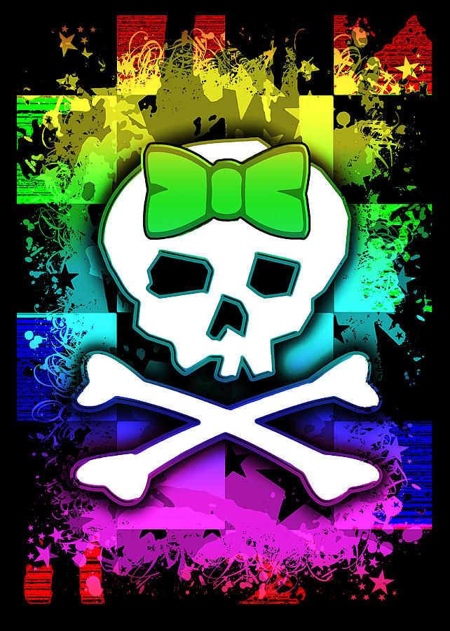 Rainbow Digital Art - Rainbow Skull by Roseanne Jones
