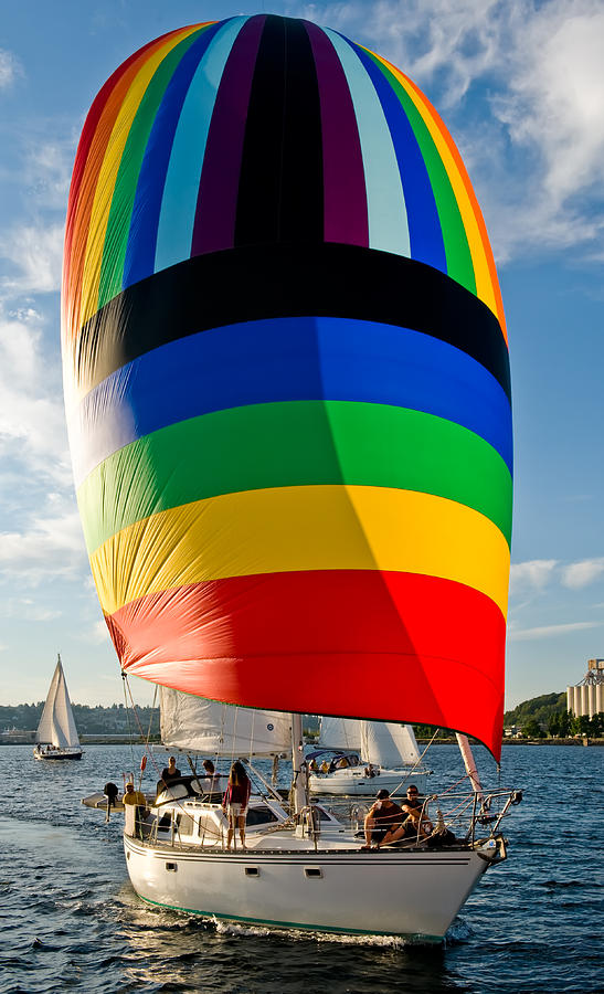 Seattle Photograph - Rainbow Spinaker by Tom Dowd