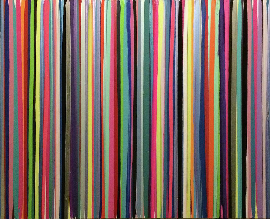Drip Painting - Rainbow Stripe by Margalit Romano