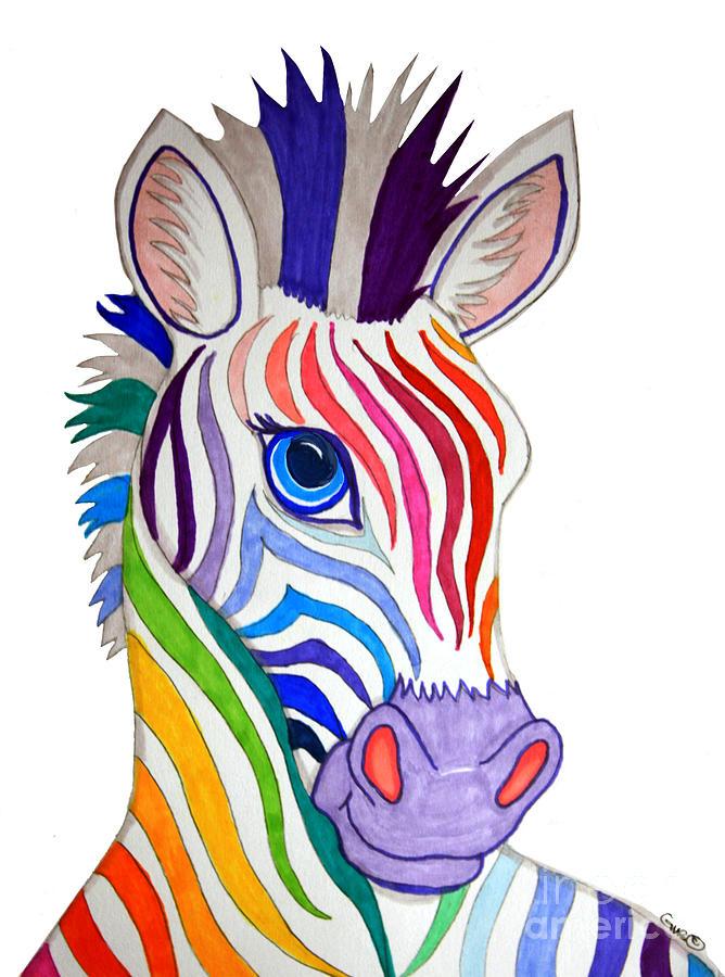 Rainbow Striped Zebra Drawing