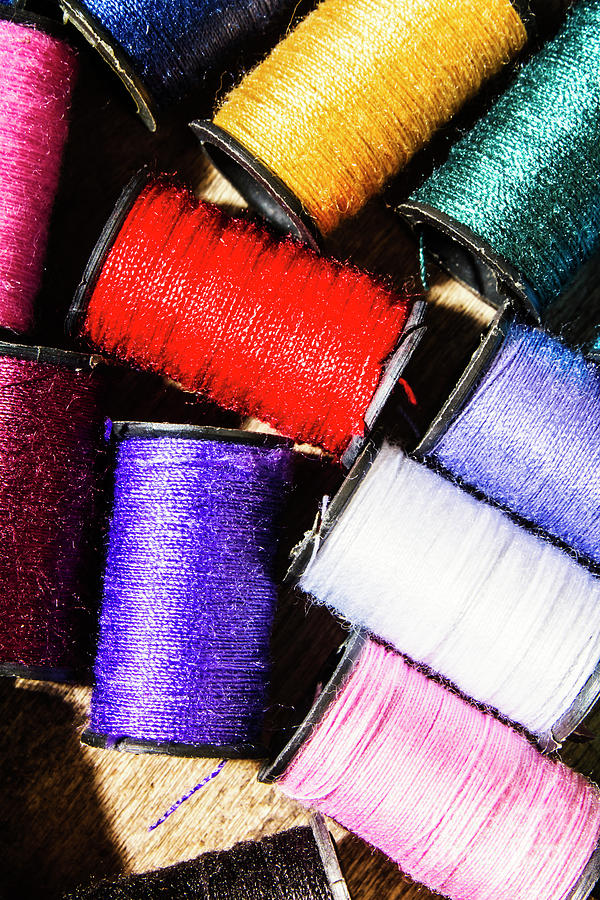 Textile Photograph - Rainbow Threads Sewing Equipment by Jorgo Photography - Wall Art Gallery
