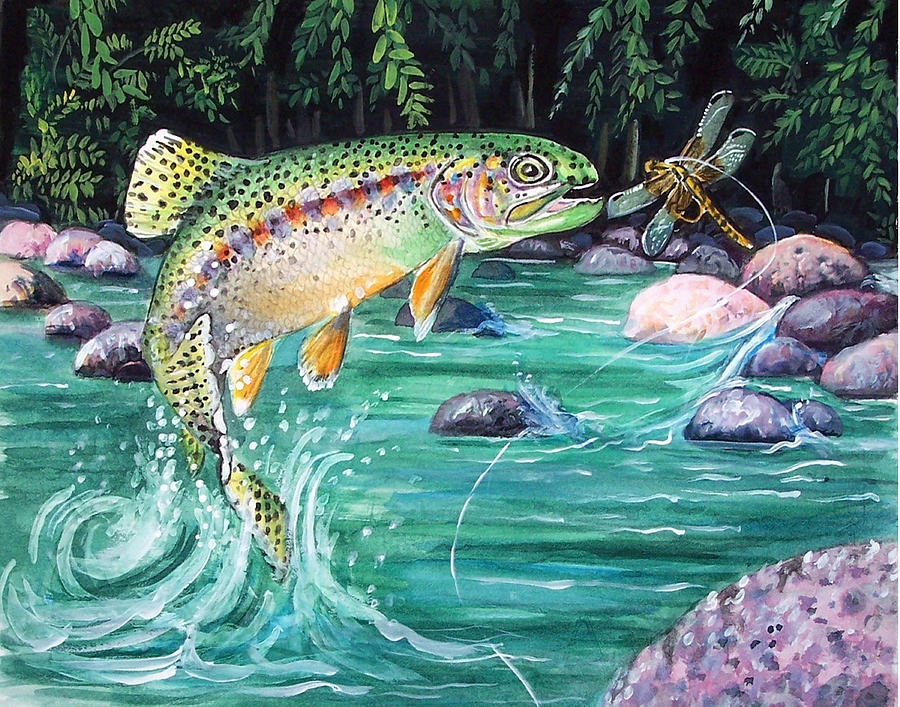 Fish Print - Rainbow Trout by Bette Gray