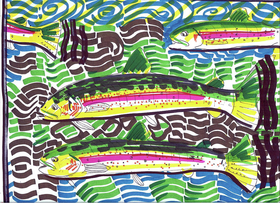 Contemporary Painting - Rainbow Trout School by Robert Wolverton Jr