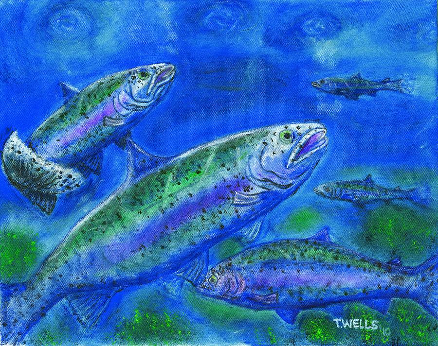 Rainbow Trout Painting - Rainbow Trout Swimming by Tanna Lee M Wells
