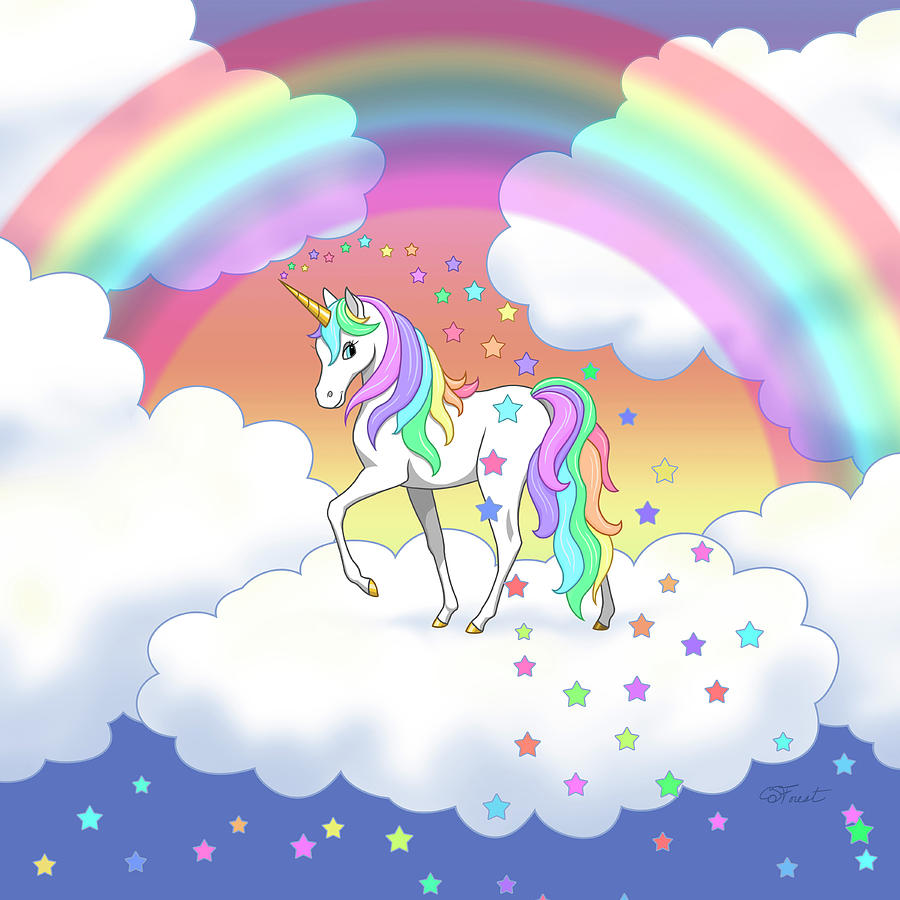 Unicorn Digital Art - Rainbow Unicorn Clouds And Stars by Crista Forest