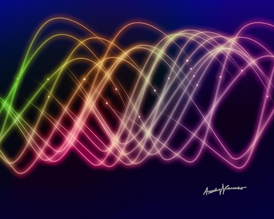 Sine Digital Art - Rainbow Waves by Anthony Caruso