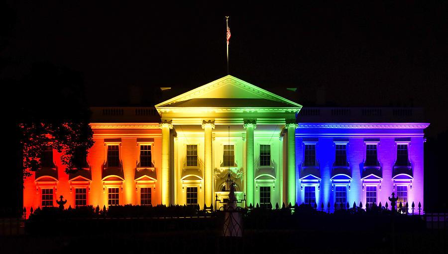 Gay Photograph - Rainbow White House  - Washington DC by Brendan Reals