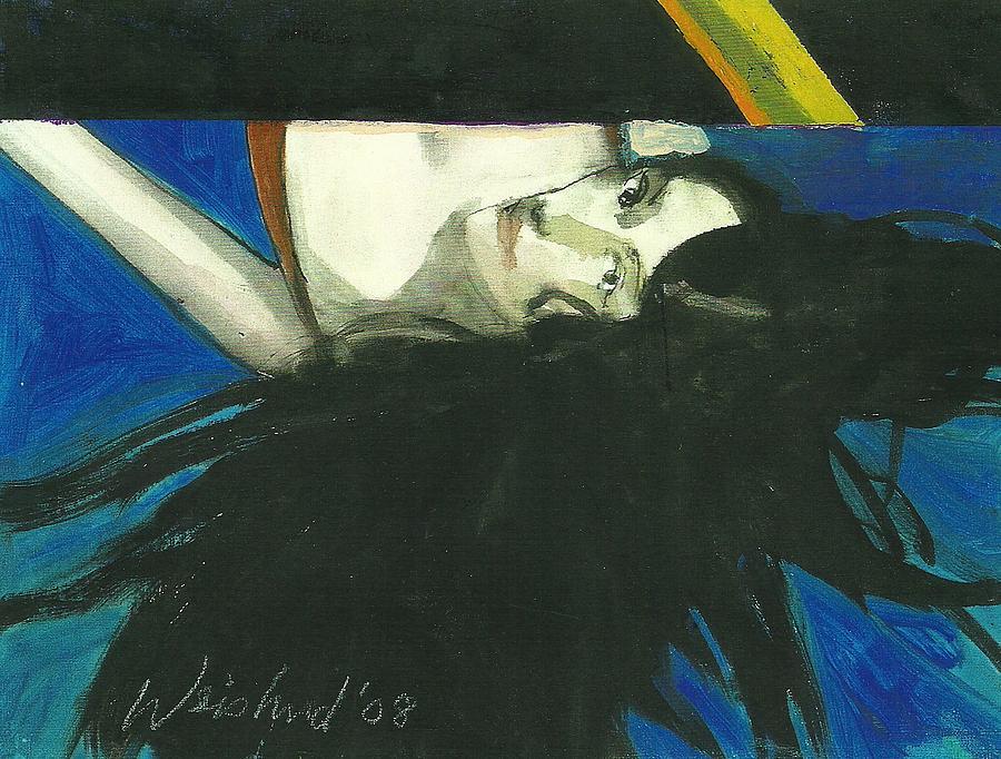 Erotic Painting - Rainbow  Woman Black Hair by Harry  Weisburd