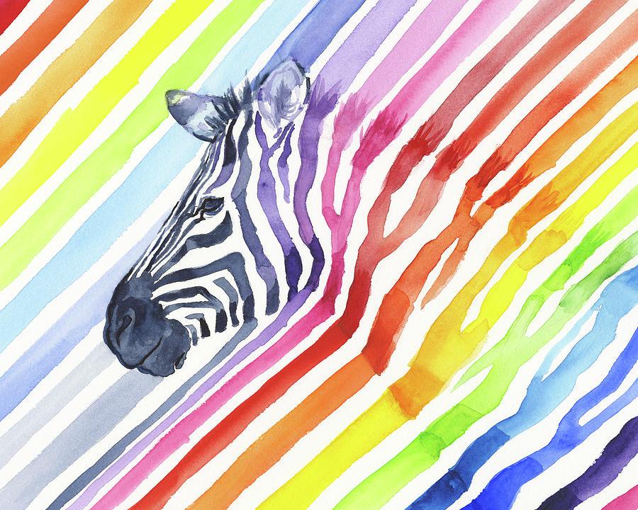 Rainbow Zebra Pattern Painting by Olga Shvartsur