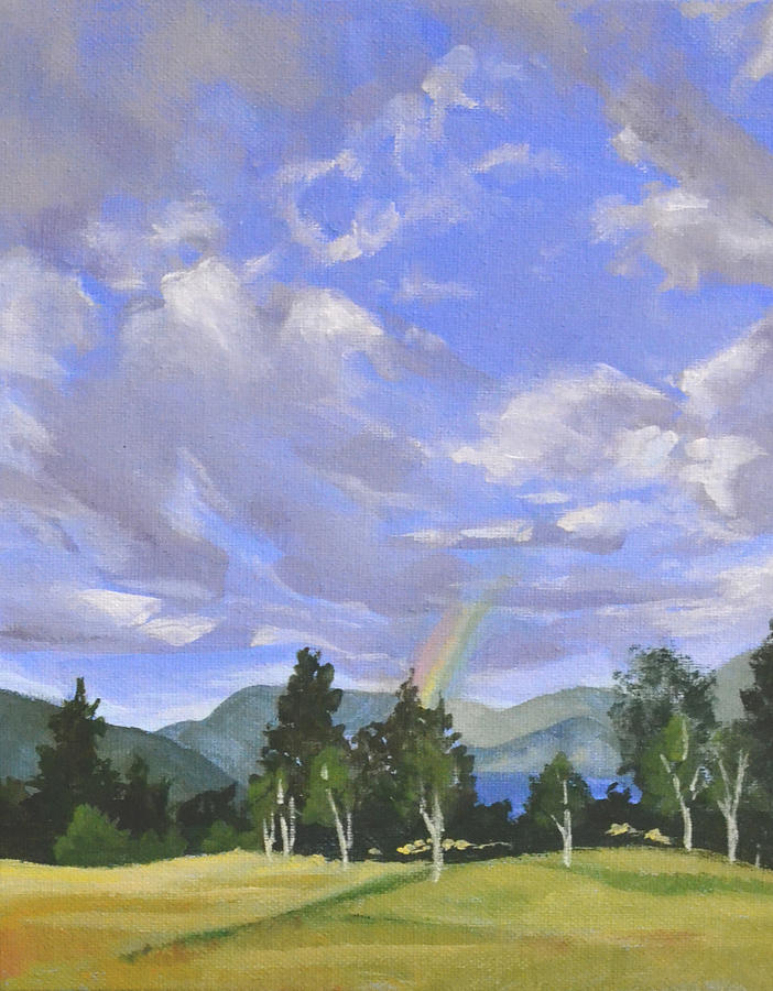 Clouds Painting - Rainbows End by Mary Chant
