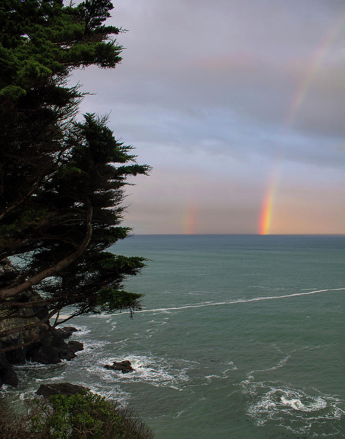 Rainbow Photograph - Rainbows Over The Ocean At The Mendocino Coast by Anne Branson