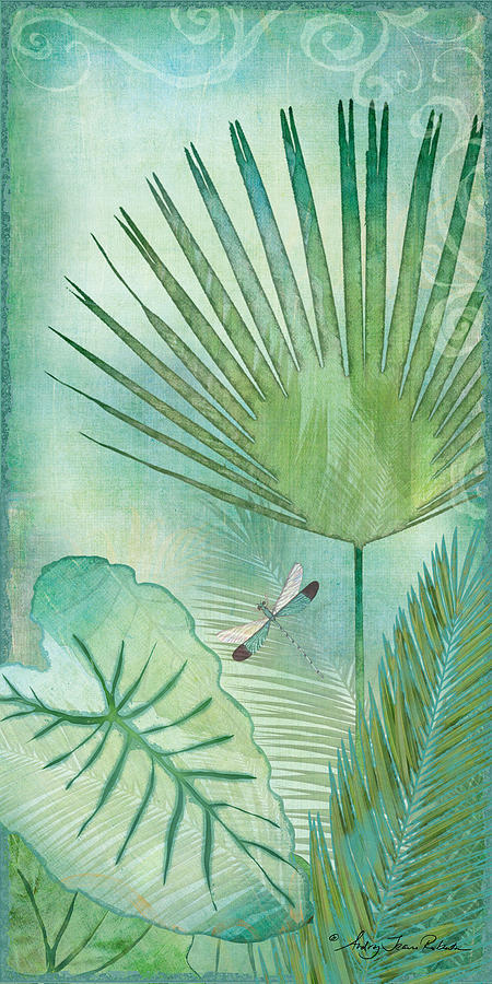 Rainforest Tropical Elephant Ear And Fan Palm Leaves W