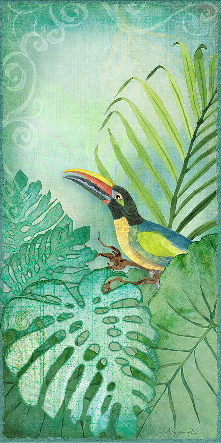 Rainforest Tropical - Tropical Toucan W Philodendron Elephant Ear ...