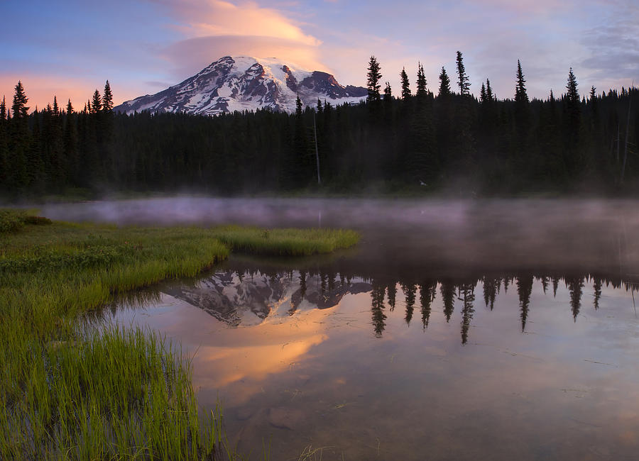 Rainier Photograph - Rainier Lenticular Sunrise by Mike  Dawson