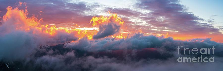 Rainier National Park Sunset Clouds On Fire Photograph