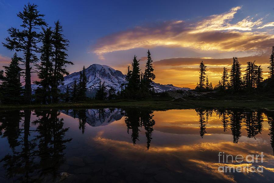 Rainier Photograph - Rainier Sunrise Reflection #2 by Mike Reid