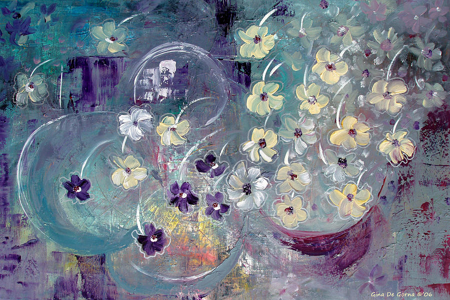 Flowers Painting - Raining Flowers by Gina De Gorna