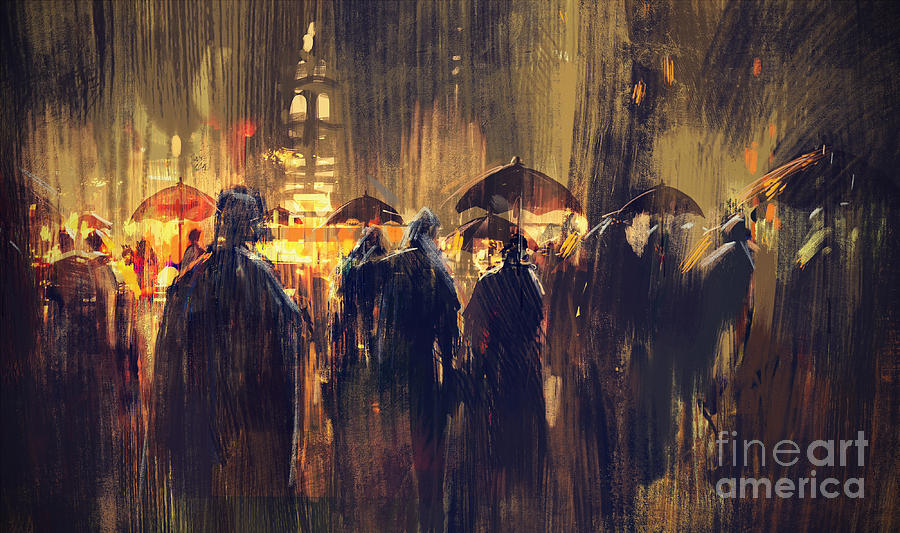 Painting Painting - Raining by Tithi Luadthong