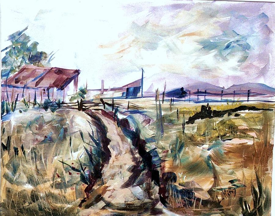 Farm Painting - Rains Comin by Linda King