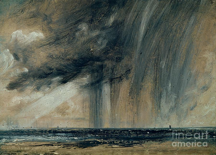 Rainy Painting - Rainstorm Over The Sea by John Constable