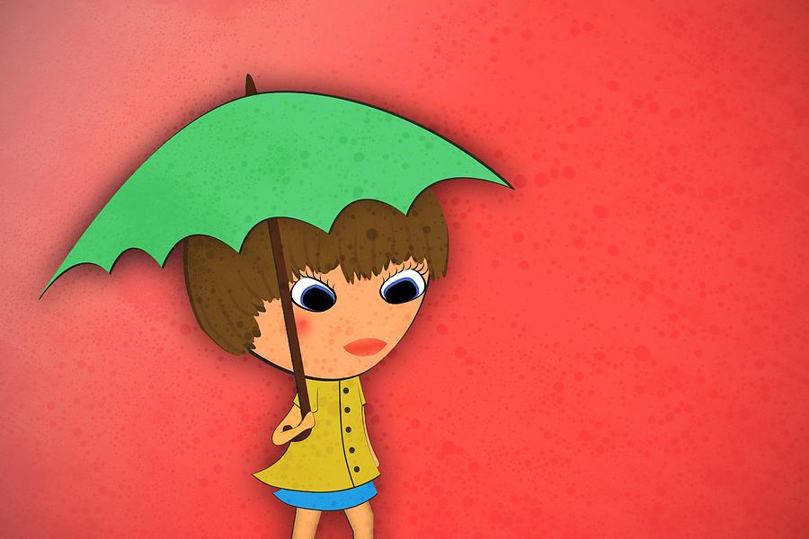 Girl Digital Art - Rainy by Abbey Hughes
