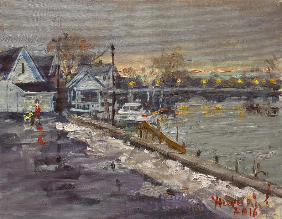 Rainy Painting - Rainy And Snowy Evening By Niagara River by Ylli Haruni