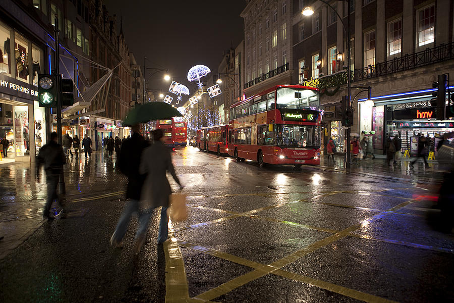 Rainy Christmas On Oxford Street Photograph by Alexander Davydov