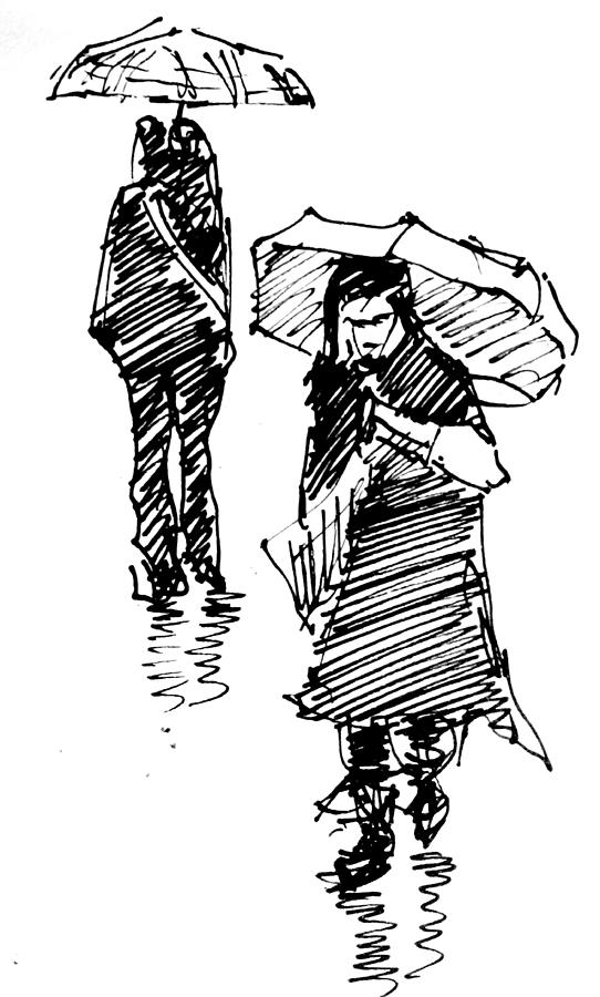 Rainy Day 3 Drawing By Ibolya Taligas